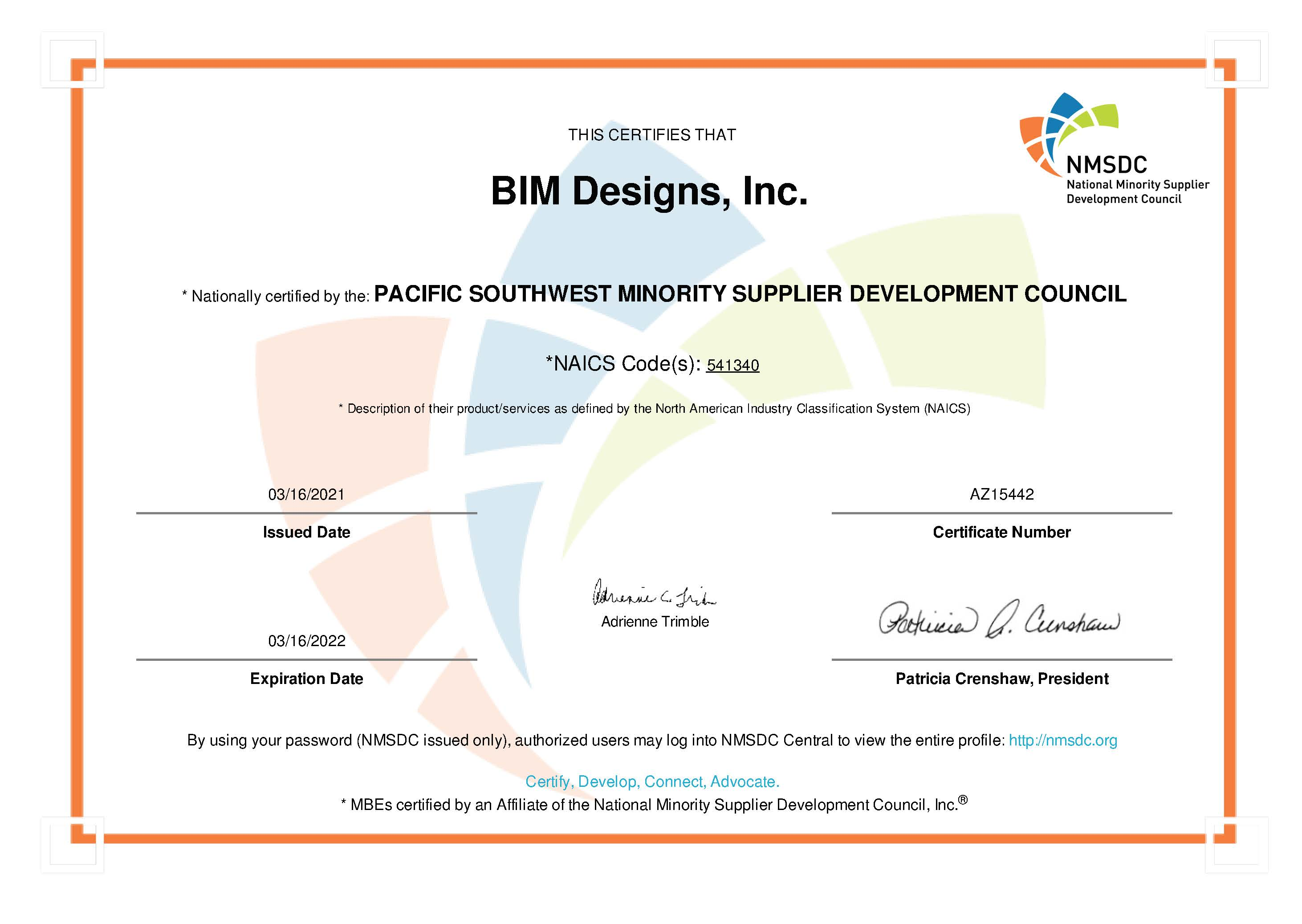 NMSDC Certificate